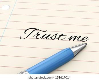 3d render of pen on paper written trust me