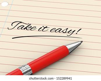 3d render of pen on paper written take it easy