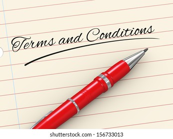 3d render of pen on paper written terms and conditions