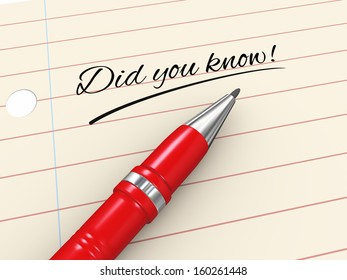 3d render of pen on paper written did you know ?
