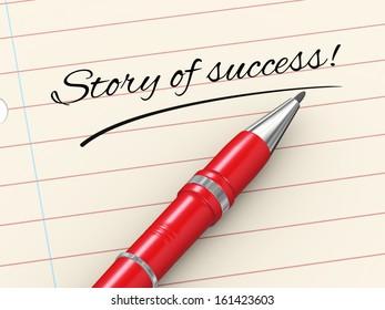 3d render of pen on paper written story of success
