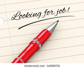 3d render of pen on paper written looking for job
