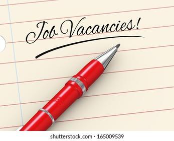 3d render of pen on paper written job vacancies