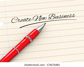 3d render of pen on paper written create new business