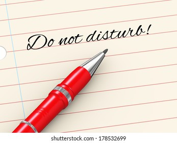 3d render of pen on paper written don't disturb