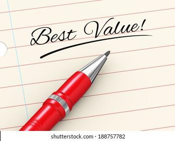 3d render of pen on paper written best value