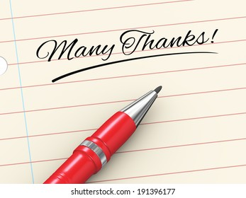 3d render of pen on paper written many thanks