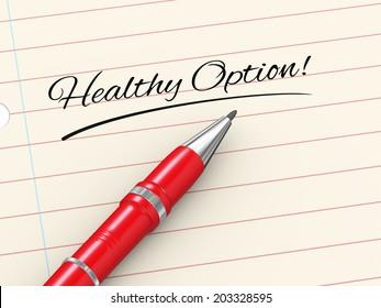 3d render of pen on paper written healthy option