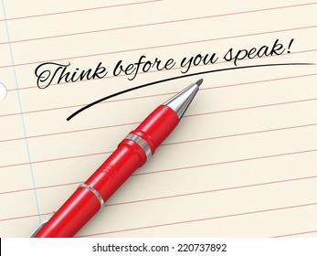 3d render of pen on paper written think before speak