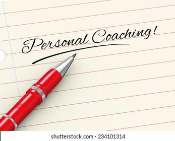 3d render of pen on paper written personal coaching
