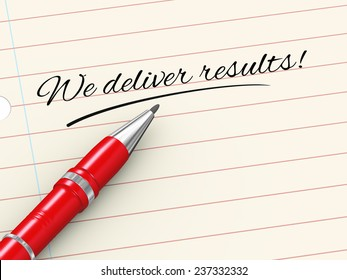 3d render of pen on paper written we deliver results