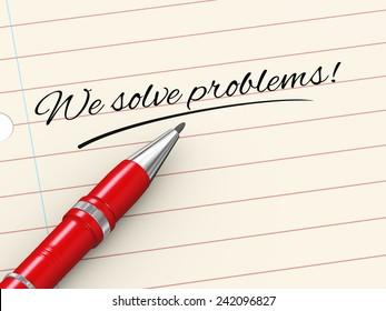 3d render of pen on paper written we solve problems