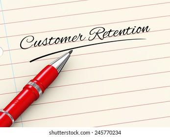 3d render of pen on paper written customer retention