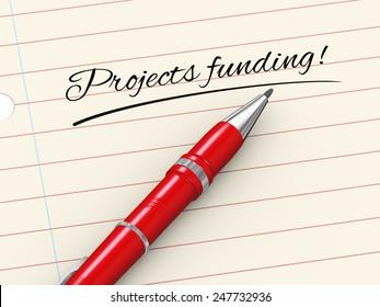3d render of pen on paper written projects funding