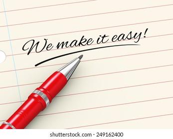 3d render of pen on paper written we make it easy