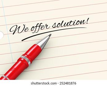 3d render of pen on paper written we offer solution