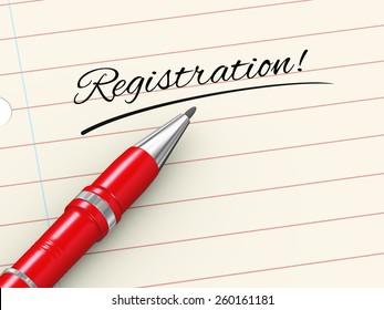3d render of pen on paper written registration