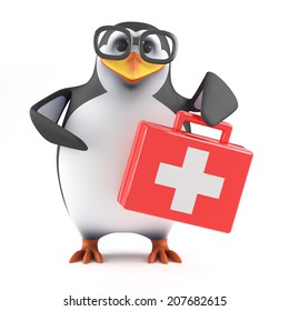 3d render of a penguin holding a first aid kit