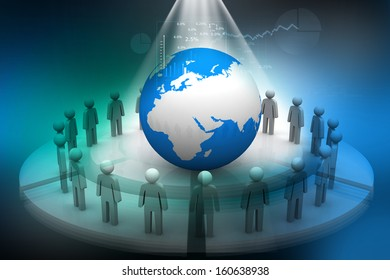 3d render of people around globe on abstract digital background