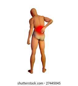 3D render of a person suffering of back pain