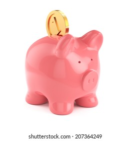 3d render pf piggybank with gold coin isolated on white background