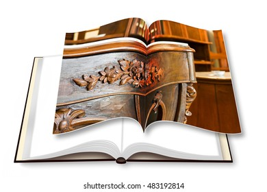 3D render photo book with a detail of an antique italian furniture just restored - concept image