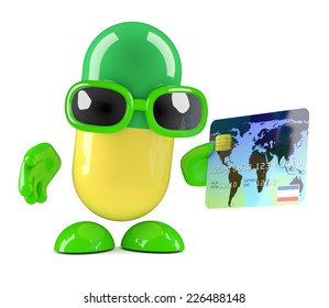3d render of a pill character using a credit card