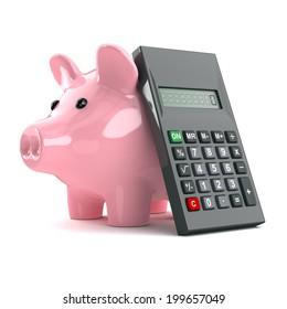 3d render of a pink piggy bank and calculator