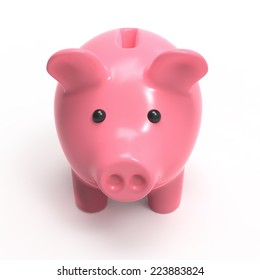 3d render of a pink piggy bank