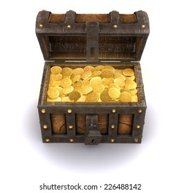 3d render of a pirates treasure chest full of gold coins
