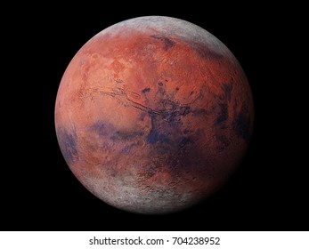 (3d render) planet Mars during the Martian winter, isolated on black background, elements of this image are furnished by NASA