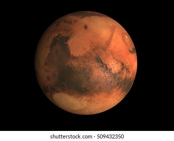 3D render of the planet Mars on a black background, high resolution. Some elements of this image furnished by NASA.