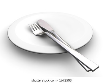 3D render of a plate with a knife and fork