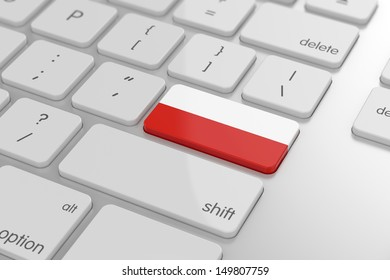 3d render of polish flag button with soft focus