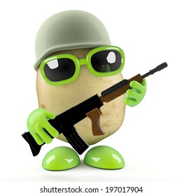 3d render of a potato dressed as a combat ready soldier