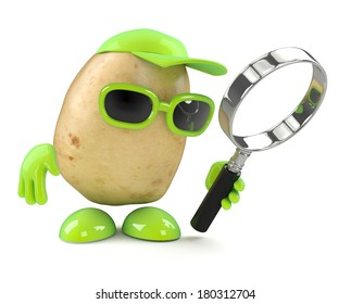 3d render of a potato looking through a magnifying glass