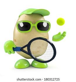 3d render of a potato playing tennis