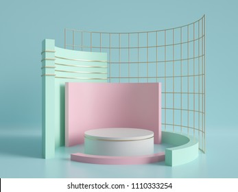 3d render, primitive shapes, abstract geometric background, cylinder podium, modern minimalistic mock up, blank template, gold metal grid, empty showcase, shop display, mint blue pink pastel colors