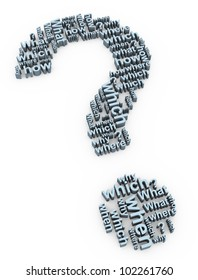 3d render of question mark words symbol