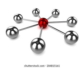 3d render of a radial arrangement network of steel balls