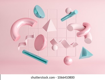 3d render realistic primitives composition. Flying shapes in motion isolated on pink background. Abstract theme for trendy designs. Spheres, torus, tubes, cones in metallic blue and pink colors.
