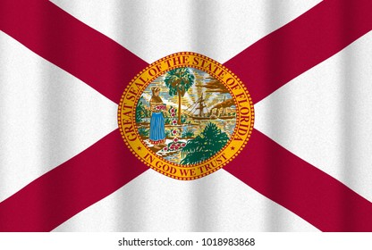 3D render with realistic texture and lighting of the flag of Florida