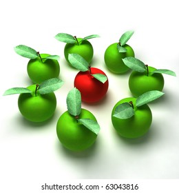 3d render of a red apple surrounded by green apples