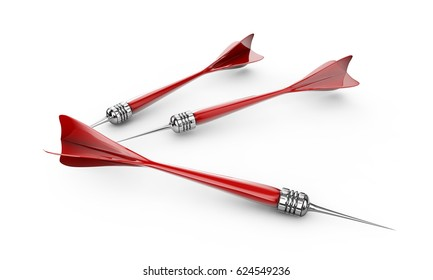 3d render Red and Black Dart Isolated on White Background.
