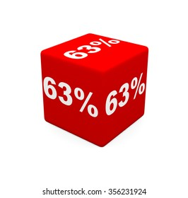 3d render red cube with 63 percent on a white background.