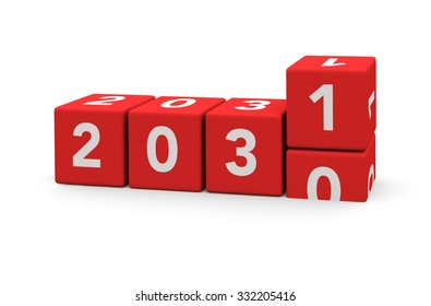 3d render red cubes New Year 2031 and past year on a white background.