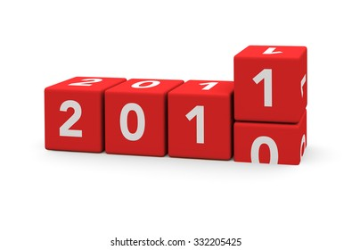 3d render red cubes New Year 2011 and past year on a white background.
