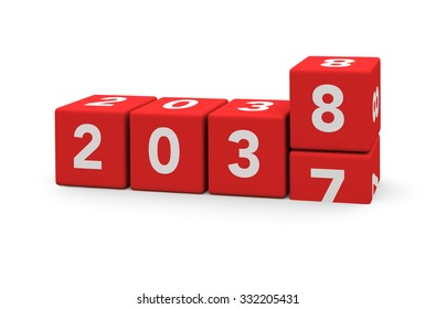 3d render red cubes New Year 2038 and past year on a white background.