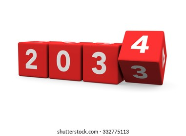 3d render red cubes New Year 2034 and past year on a white background.