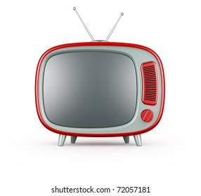 3d render of red retro TV on white background